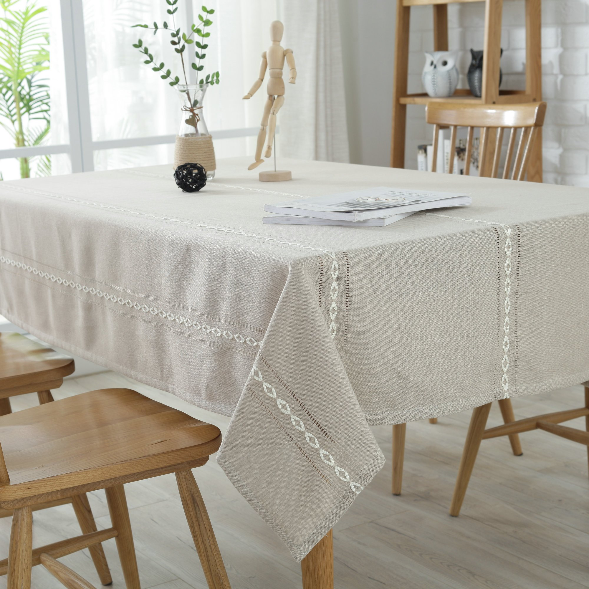 Enova Home Heavyweight Elegant Cotton Washable Tablecloths for Rectangle Tables, Table Cover for Kitchen Dinning Tabletop Decoration (54 x 72 Inch, Cream)