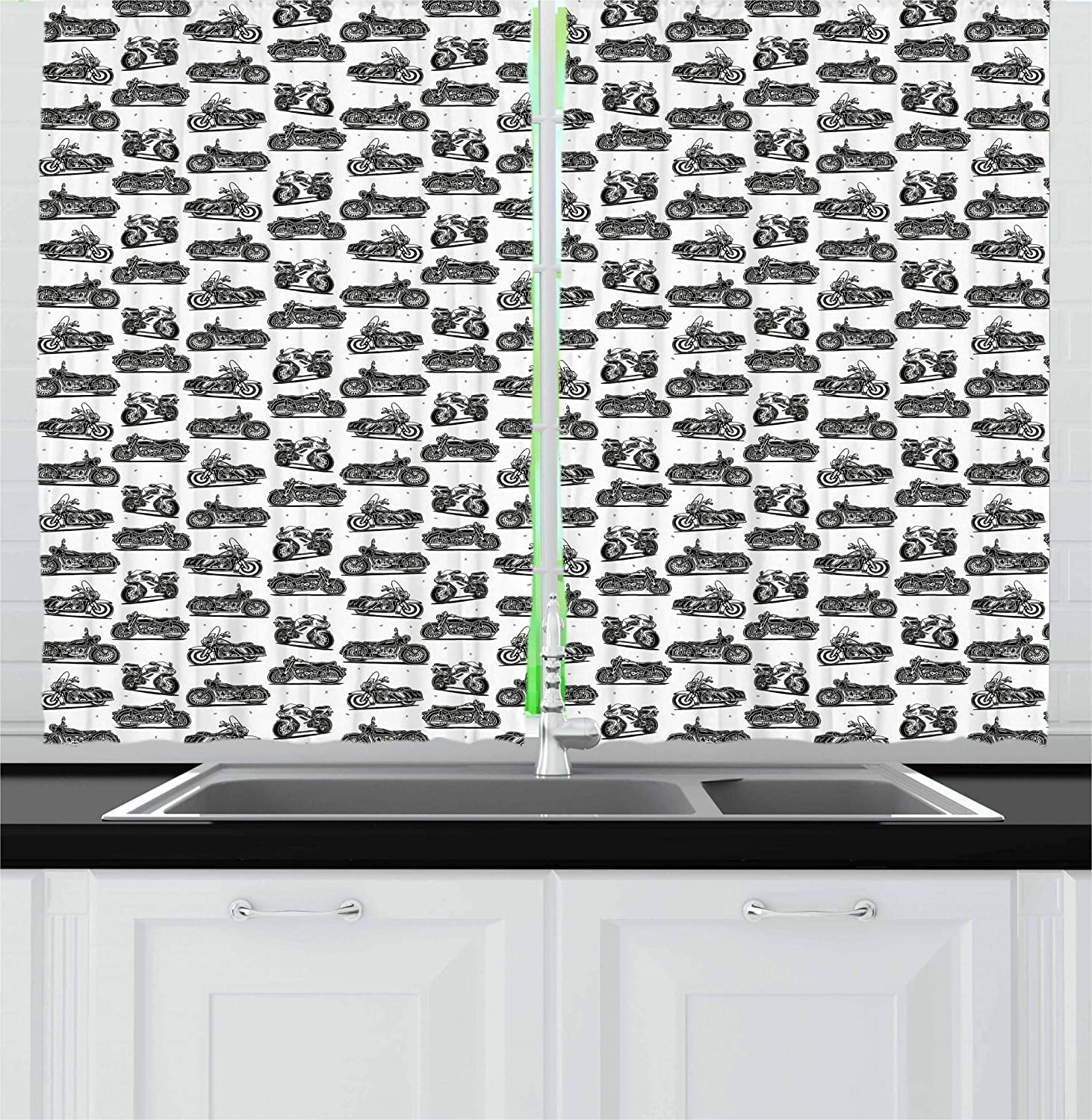 55 W X 39 L Inches Window Drapes 2 Panel Set for Kitchen Cafe Motorcycle Drawings of Old-Fashioned and Modern on White Background Ambesonne Motorcycle Kitchen Curtains Charcoal Grey White