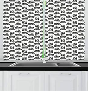 Ambesonne Motorcycle Kitchen Curtains, Motorcycle Drawings of Old-Fashioned and Modern on White Background, Window Drapes 2 Panel Set for Kitchen Cafe, 55 W X 39 L Inches, Charcoal Grey White