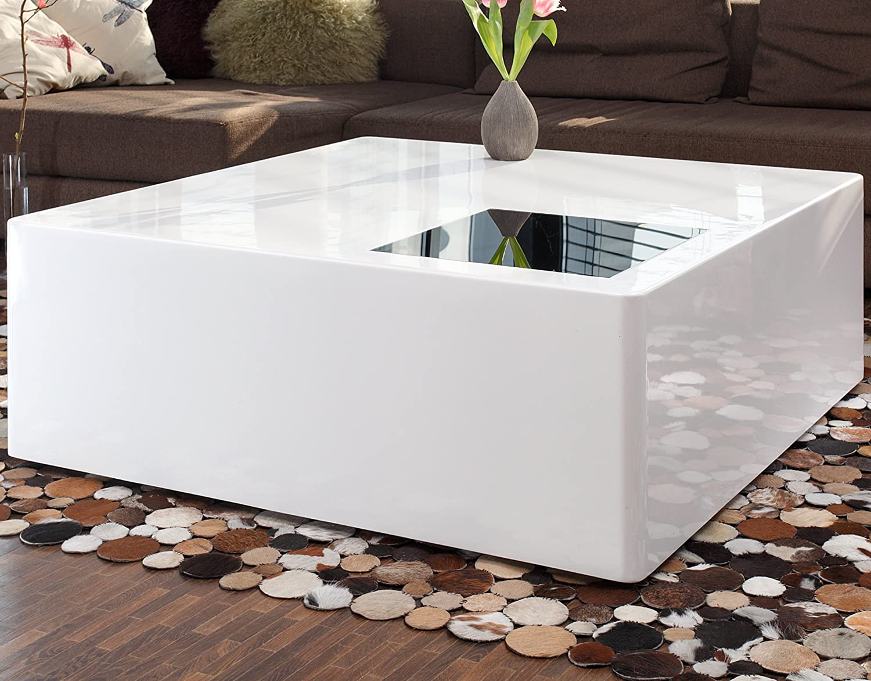 SalesFever Couch-Tisch weiß Hochglanz aus MDF 100x100cm quadratisch | Blox | Moderner Wohnzimmer-Tisch Weiss mit Schwarzglas 100cm x 100cm