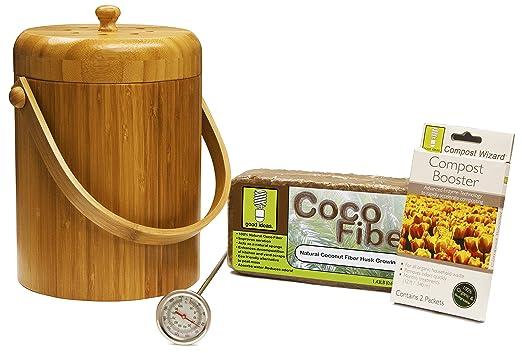 Asistente de Compost 3 Qt. Bambú Compost esencial Kit ...