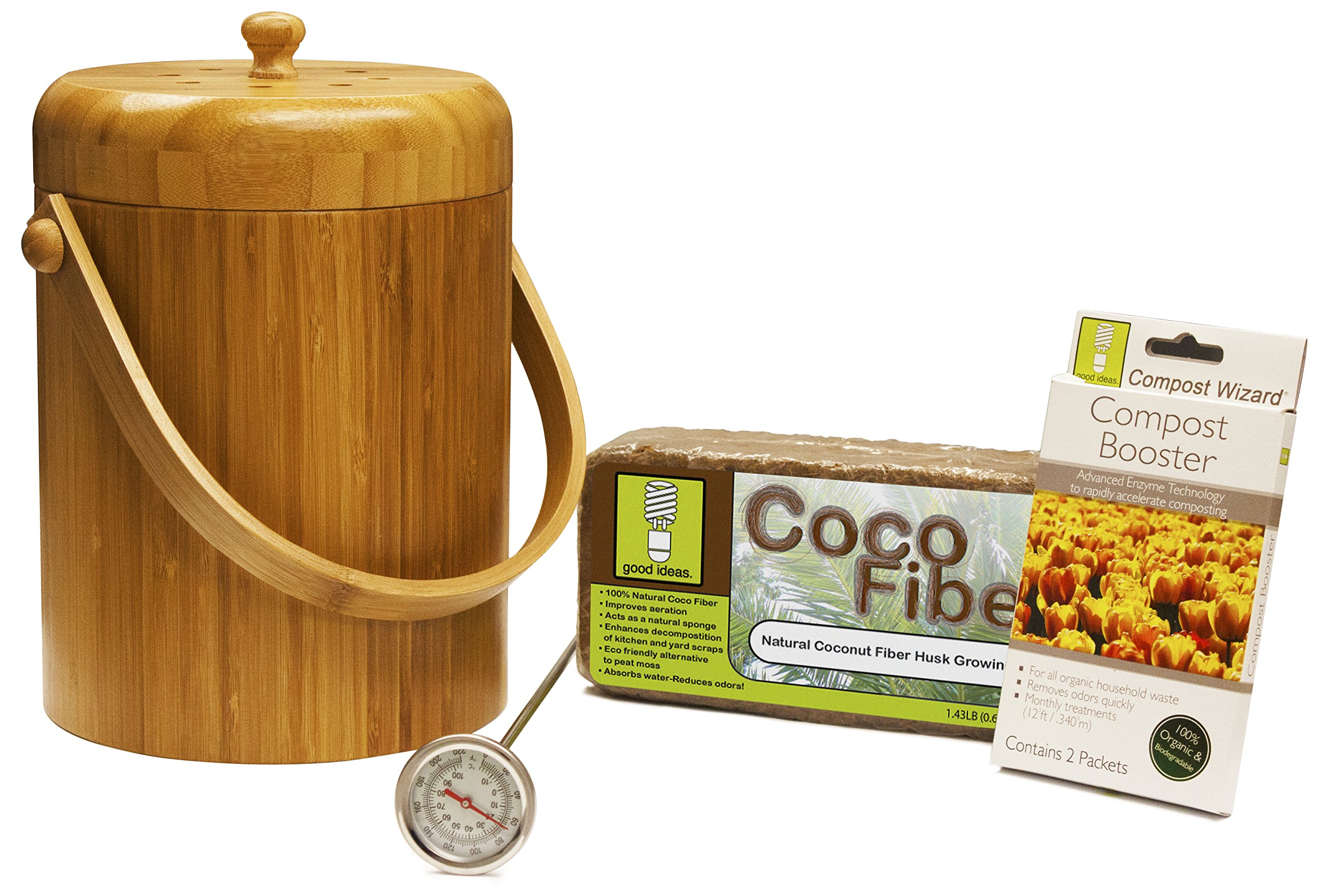 Good Ideas CW-STA3QT-BOO Bamboo Compost Wizard Pail Essentials Kit
