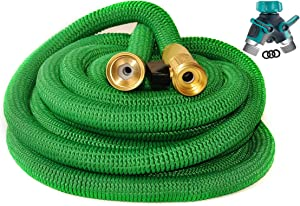 Riemex Expandable Garden Hose Green 75 FT [New 2020] Heavy Duty Water Hose - Triple Latex - Expanding Solid Brass Metal Fittings Connectors, Flexible Strongest 75FT, Green, Metal Garden Hose Splitter