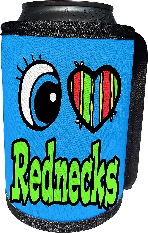 3dRose Dooni Designs Eye Heart I Love Designs - Bright Eye Heart I Love Rednecks - Can Cooler Bottle Wrap (cc_106457_1)