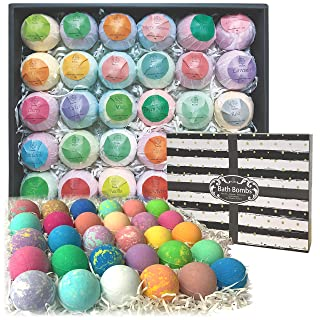 Bulk Bath Bombs 30 Pc Gift Set by Purelis. Ultra Lush Bath Balls Individually Wrapped for Men & Women! Paraben & Sulfate Free Organic Spa Fizzies Infused with Essential Oils.