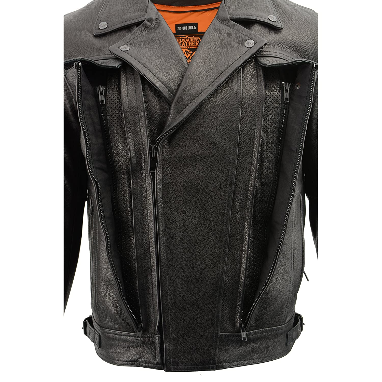 JLK DOUBLE SIDE Milwaukee Leather Mens Pistol Pete Jacket LKM1720-BLK-LG Black, Large