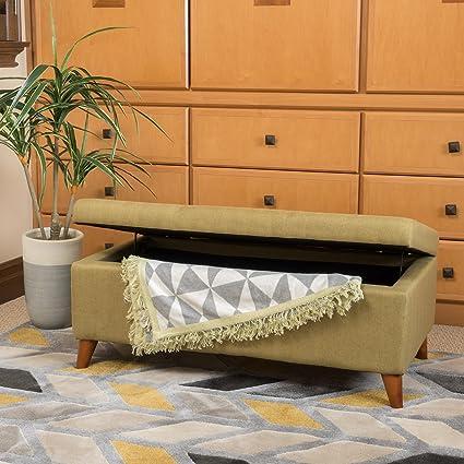 Etoney Mid Century Modern Fabric Storage Ottoman (Green)