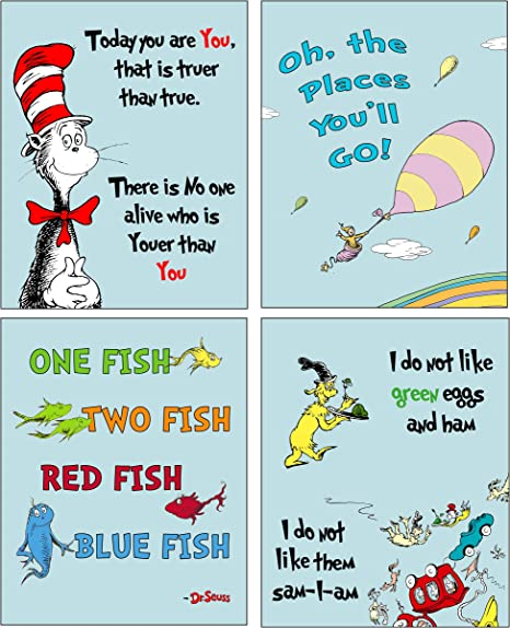 Amazon Com Dr Seuss Kids Photo Prints Wallart Adorable Wall Decor For Bedrooms Nursery Play Room Blue Pastel Background Also Available In Pink Green Or Yellow Background Posters Prints