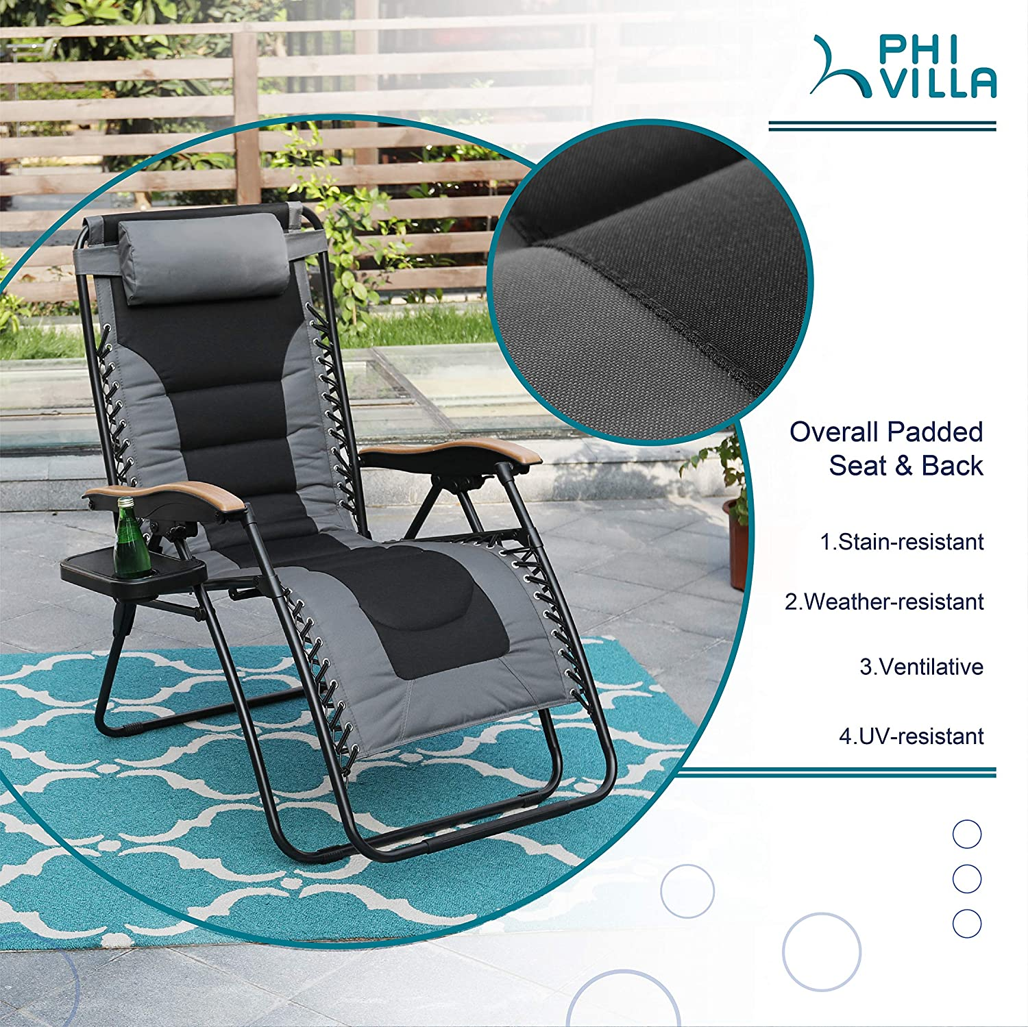PHI VILLA XL Zero Gravity Chair Padded Recliner Oversize Lounge Chair with Free Cup Holder Grey