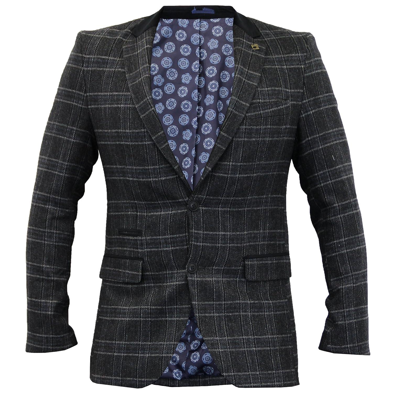 Mens Checked Blazer Herringbone Tweed Jacket Coat Thomson & Richard Velvet Patch