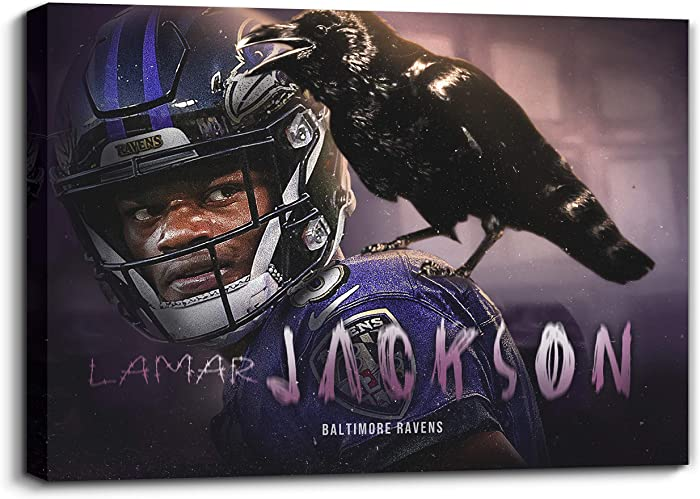 "NFL Baltimore Ravens QB Lamar Jackson Black Canvas Wall Art Sport Poster Artwork Contemporary Home Decor for Living Room Framed Gallery-wrapped Stretched Ready to Hang (24""W*16""H, Lamar Jackson)"