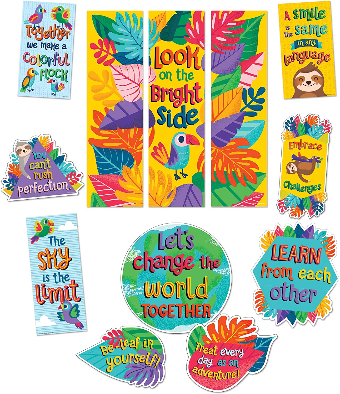 Amazon Com Carson Dellosa Education One World Motivational Mini Bulletin Board Set 14 Pieces Office Products