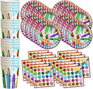 Artist Painting Birthday Party Supplies Set Plates Napkins Cups Art Tableware Kit for 16
