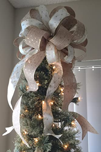 Christmas Tree With Mesh.Burlap And Gold Tree Topper Bow Free Shipping Christmas Tree Top Burlap And Mesh Gold Bow