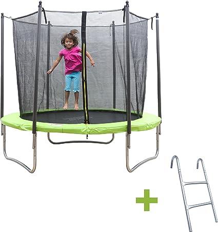 Ise cama elástica para niños Fitness redondo 245 cm verde con red ...
