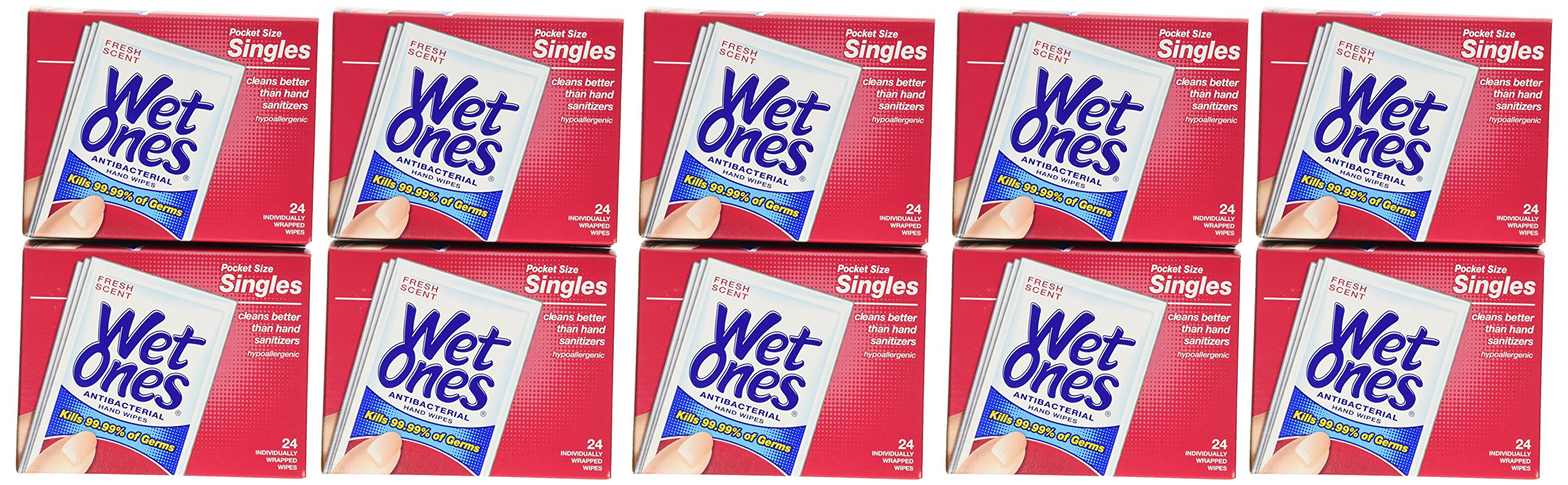 Wet Ones Antibacterial Hand Wipes Singles, (Pack of 24 X 10) by Wet Ones