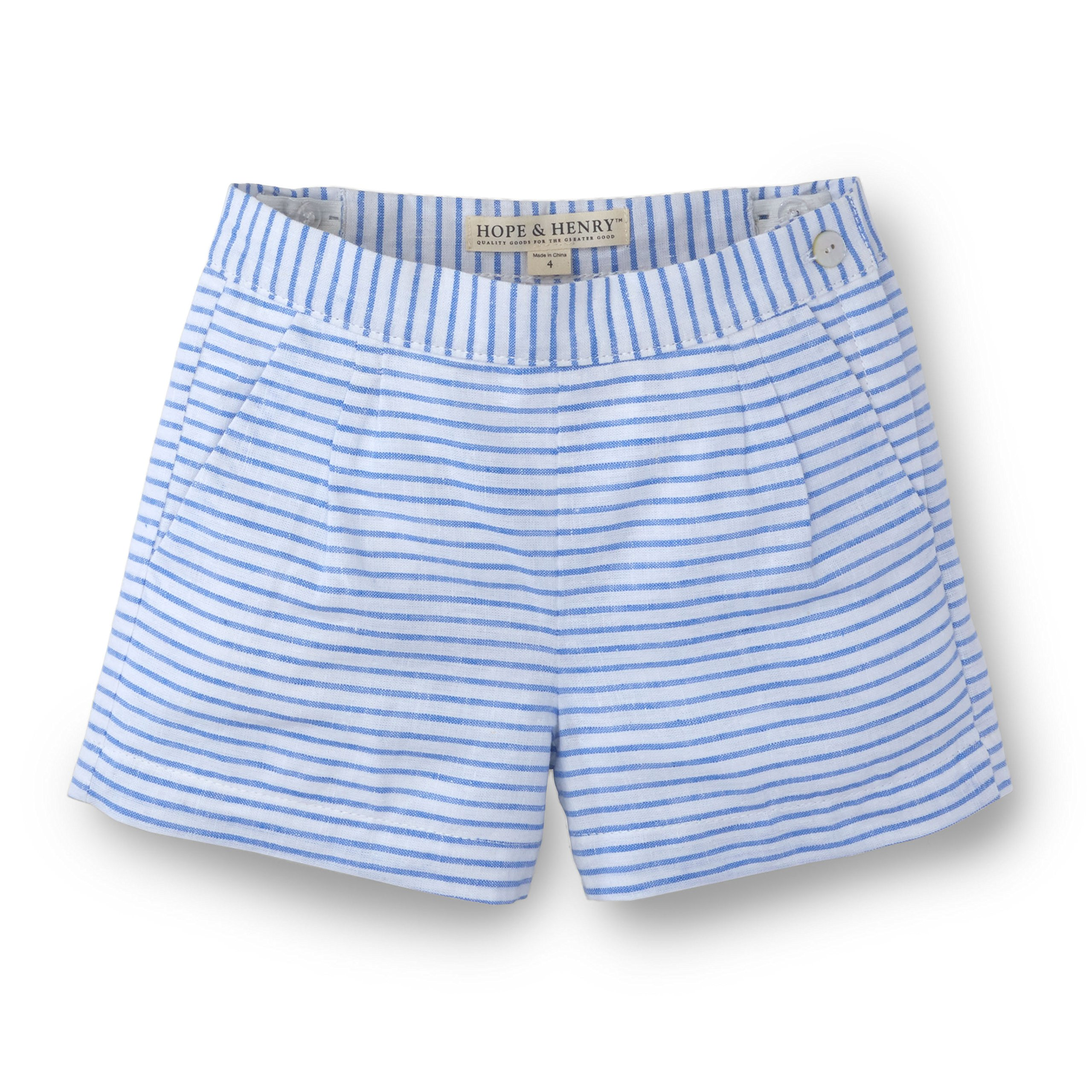 Hope & Henry Girls Striped Blue Pleat Short Made with Organic Cotton