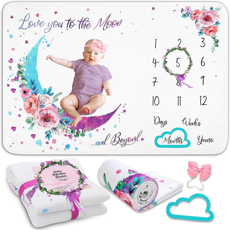 Growy Baby Milestone Blanket for Baby Girl Gifts - Nursery Decor Baby Monthly Milestone Blanket Girl - Newborn Baby Shower Flannel Fleece Girl Milestone Blanket - 60
