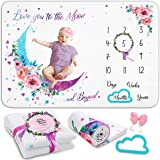 Growy Baby Milestone Blanket for Baby Girl Gifts - Nursery Decor Baby Monthly Milestone Blanket Girl - Newborn Baby Shower Fl