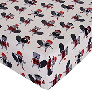 product image for Glenna Jean Crib Fitted Sheet, Beaver Buddies, Red/Black/White, Mini