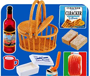 Re-Ment Wine Crackers Picnic Food Basket Kawaii Kitchen Collectible Set OOP Retired Mini Miniature Doll Dollhouse 2007 Toy