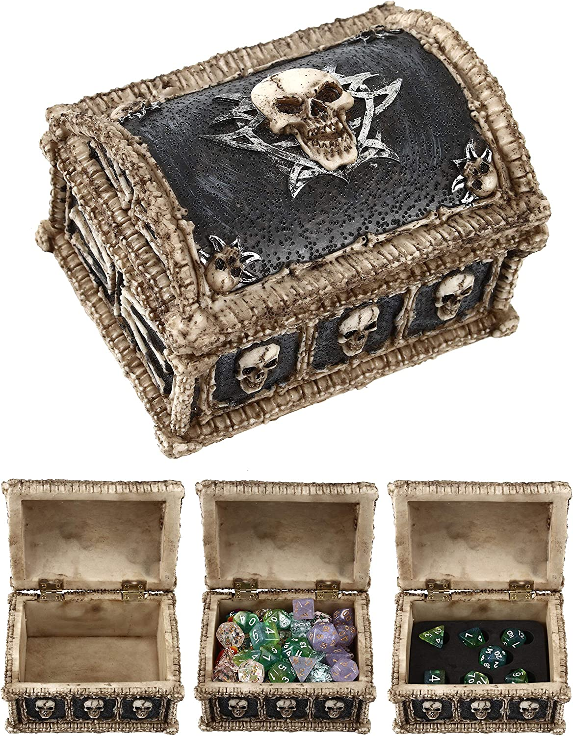 Container Holds up to 20 Sets of Polyhedral Dice or 140 Individual Dice Deluxe Large Skull and Bones Pirates Chest Dice Storage Box Forged Dice Co