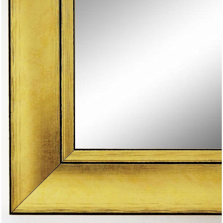 Online Galerie Bingold Wandspiegel Spiegel Badspiegel - Dortmund 4,2 - Gold - 50 x 70 - Außenmaß inkl. Massivholz-Rahmen - Viele Größen verfügbar - Modern, Barock, Antik, Vintage, Landhaus