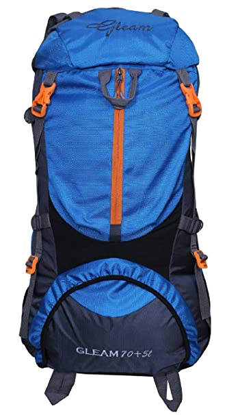dfecf745f6 Gleam 0109 Climate Proof Mountain Rucksack Hiking   Trekking Campaign Bag Backpack  75 ltrs Sky Blue   Grey Rucksack with Rain Cover  Amazon.in  Bags