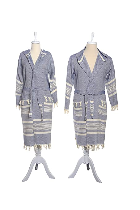G O Design Turkish Bath Robes (Truva Peshtemal Robes) (Navy Blue 14709036c