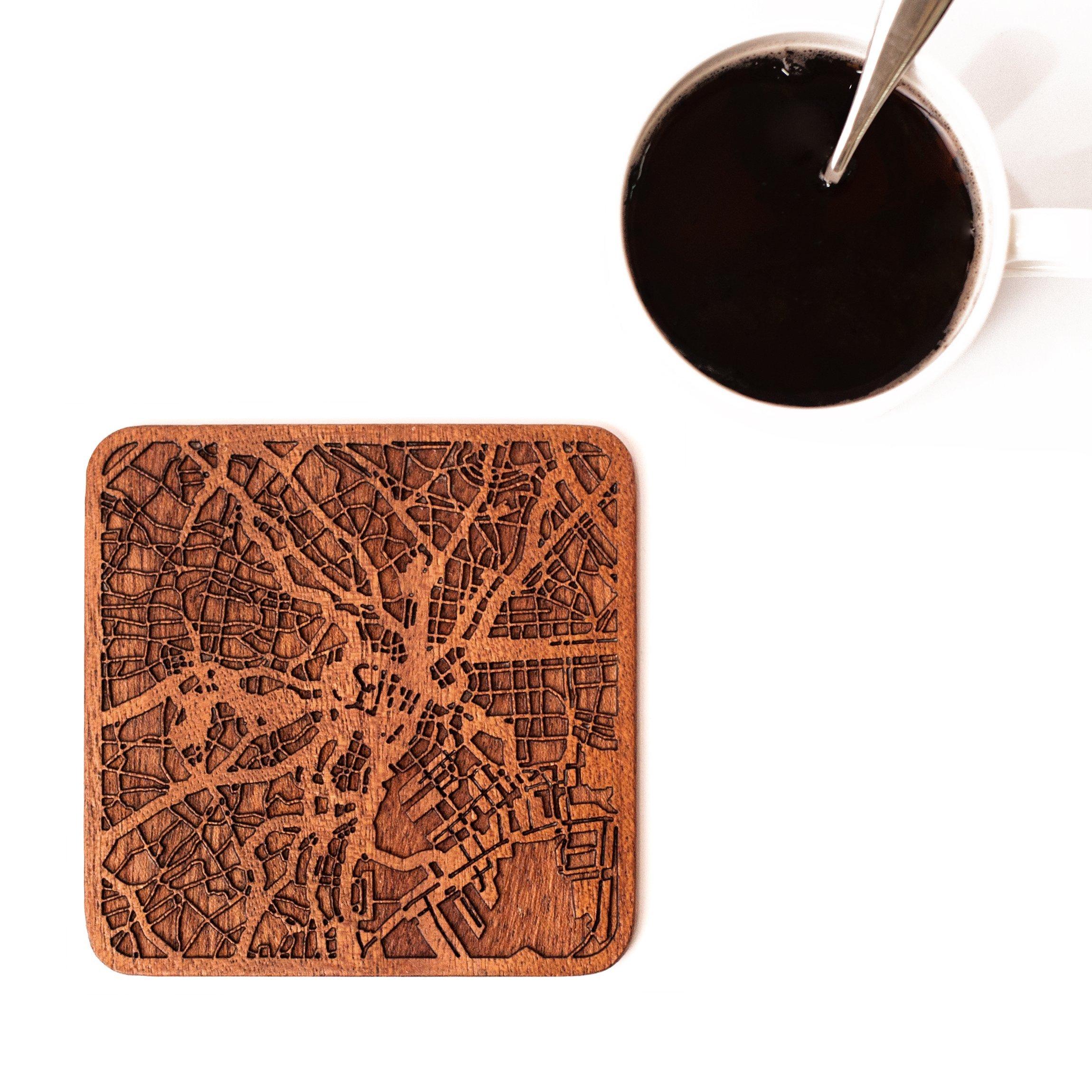 O3 Design Studio Tokyo Map Coasters, Set Of