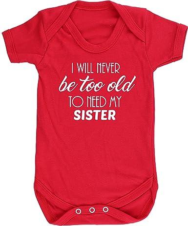 HippoWarehouse I Will Never Be Too Old To Need My Sister Chaleco para beb/és Pijama de Manga Corta para ni/ños Unisex