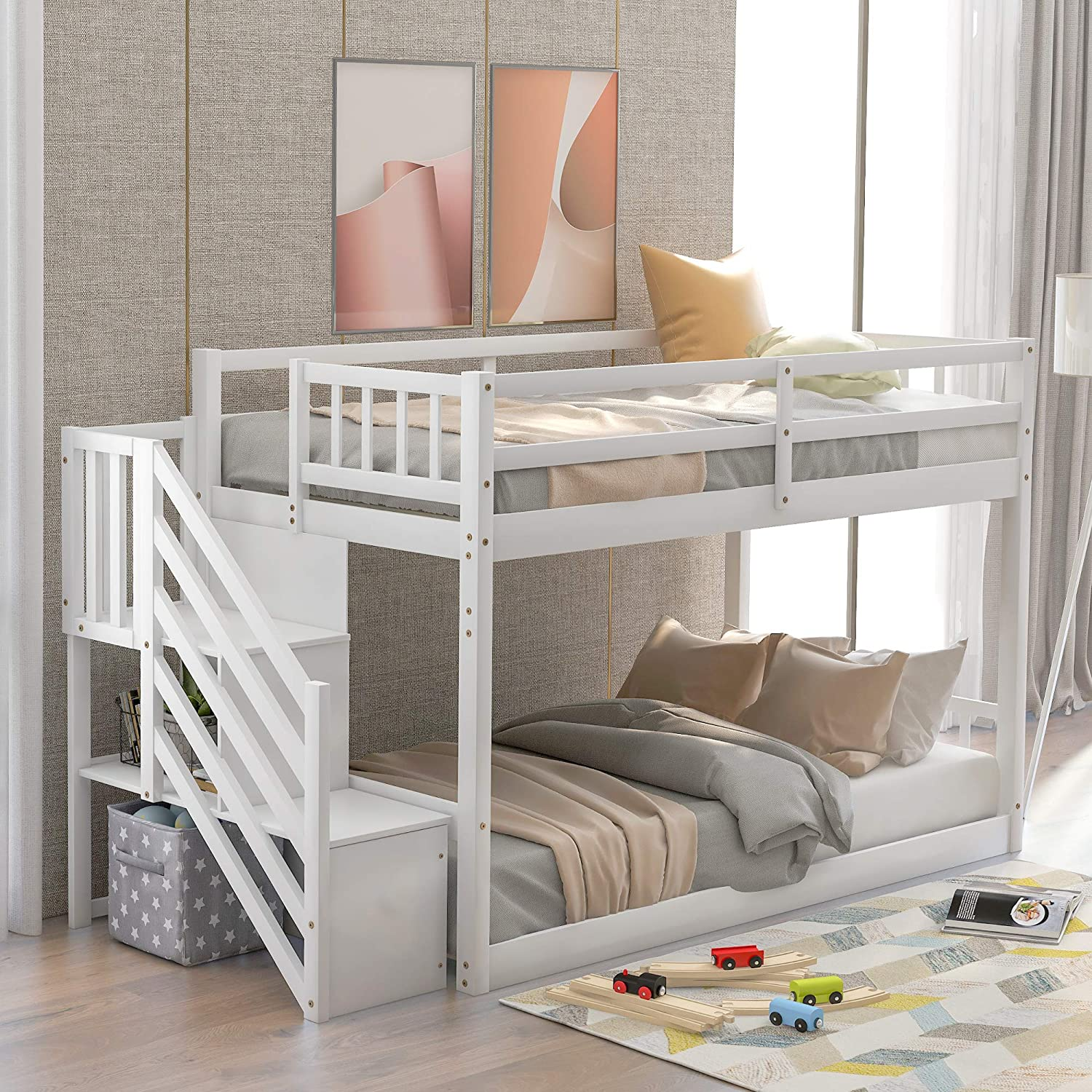 Twin Over Twin Bunk Bed For Kids Solid Wood Floor Twin Size Bed Frame With Safety Guardrails Ladder And Storage White Kitchen Dining
