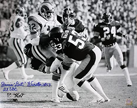 "ec8d2a43ee9 Image Unavailable. Image not available for. Color: Autographed  Dennis""Dirt"" Winston Pittsburgh Steelers 16x20 ..."