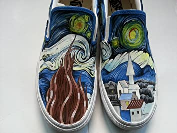 b73cc9cea80 Image Unavailable. Image not available for. Colour  Vincent Van Gogh Vans  Canvas Sneaker Hand Painted Custom Vans Shoes