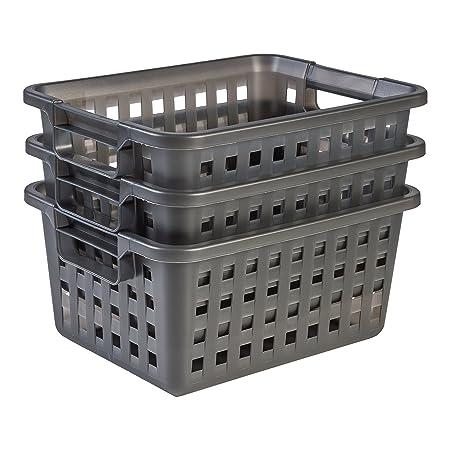 Hokky Cesta de almacenamiento de pl/ástico A4 color blanco 6 unidades