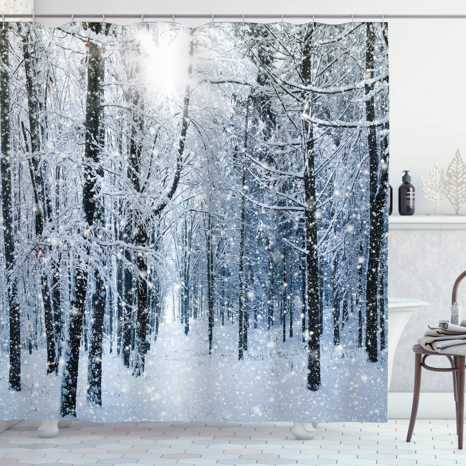 Winter Snow Hill Forest View Waterproof Fabric /&12 Hooks Bathroom Shower Curtain