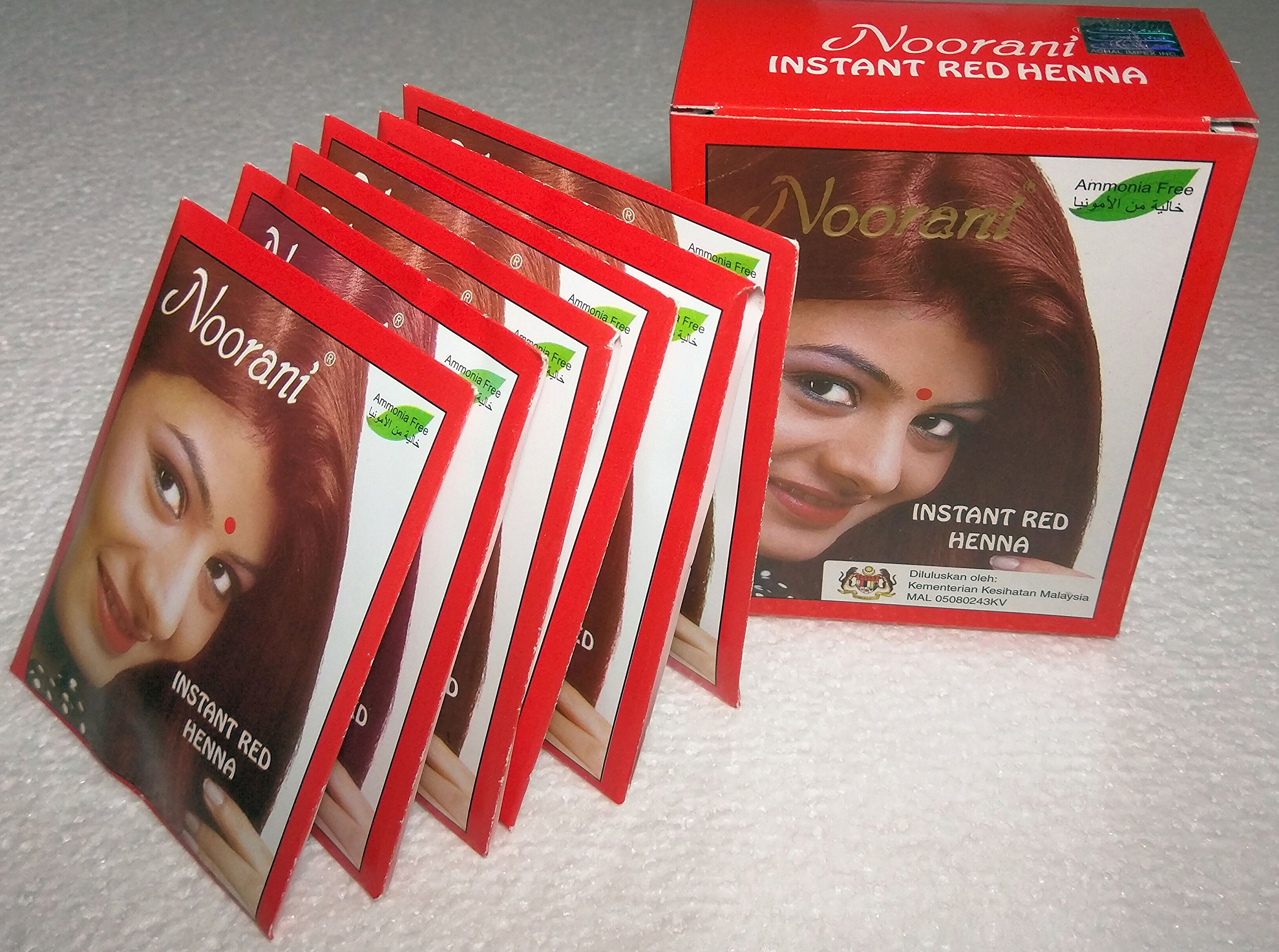 Noorani Instant Red Henna for Hair 6 X 10 Gms (Pack of 10) by Halaljj (Image #1)