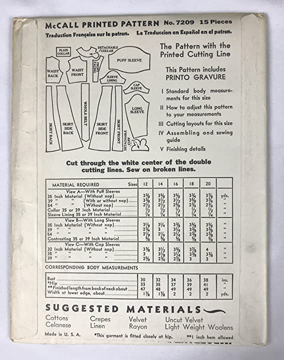 Amazoncom 1930s Vintage Mccall 7209 Sewing Pattern Misses Dress
