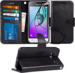Arae Samsung Galaxy J3 2016 Flip case,Galaxy J3 2016 PU Leather Case with Card Slots and Wallet.