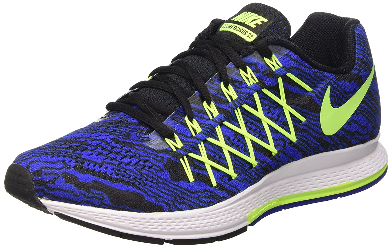 Nike Air Zoom Pegasus 32 Print, Zapatillas de Running para Hombre 44.5 EU|Azul / Lima / Negro (Racer Blue/Volt-black)
