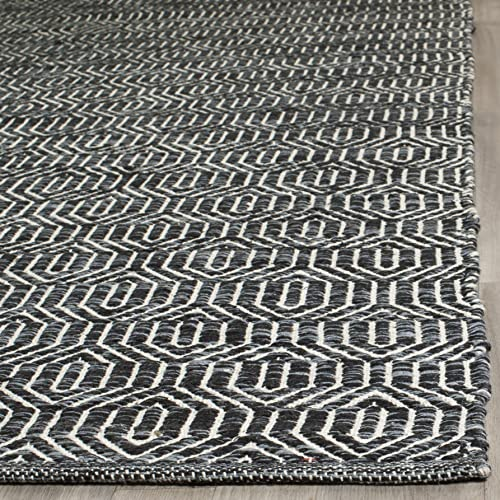 Safavieh Montauk Collection MTK413A Handmade Flatweave Ivory and Dark Grey Cotton Area Rug 5 x 7