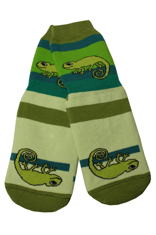 Weri Spezials Baby und Kinder Voll-ABS Socke Chamealeon Motiv in Grasgruen