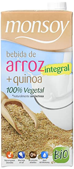 Monsoy Arroz Integral Quinoa Bebida Vegetal - 4 Paquetes de 4 x 1000 ml - Total
