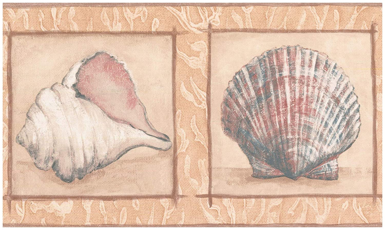 Prepasted Wallpaper Border Star Fish Seashell Beige Wall