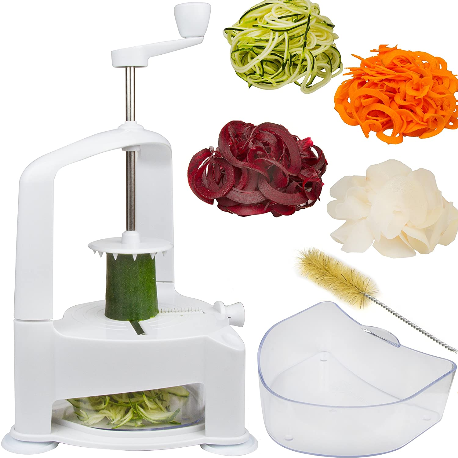 Brieftons Vertico Spiralizer: Vegetable Spiral Slicer, Fresh Veggie Spaghetti & Pasta Maker for Low Carb Healthy Vegetable Meals, With Cleaning Brush and 3 Recipe Ebooks 646437402521