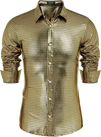 Rrive Mens Sequins Club Dance Casual Button Up Long Sleeve Dress Shirts