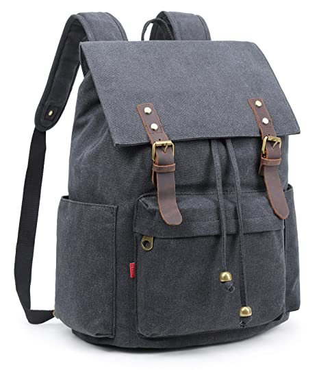 b2392f6ae556 Image Unavailable. Image not available for. Color  Crest Design Vintage  Canvas Laptop Backpack School Bag Hiking Travel Rucksack 25L (Black)