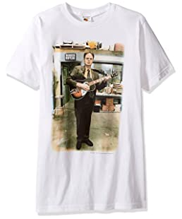 T-Line Men's The Office TV Series Dwight Guitar Graphic T-Shirt, White, Small