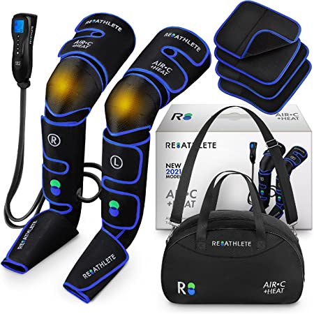 Reathlete Leg Massager, Air Compression for Circulation Calf Feet Thigh Massage, Muscle Pain Relief, Sequential Boots Device with Handheld Controller with Knee Heat Function