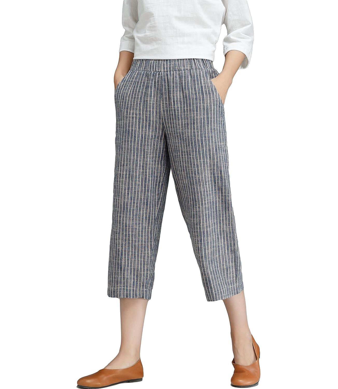 Womens Linen Stripe Wide Leg Cropped Pants with Elastic Waist